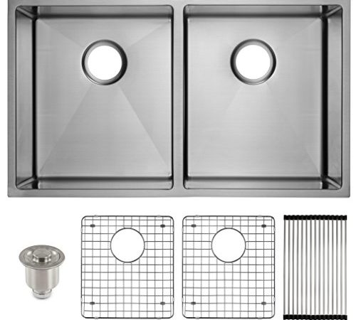 Frigidaire Undermount Stainless Steel Kitchen Sink, 10mm Radius Corners, 16  Gauge, Deep Basin, 32u2033 Double